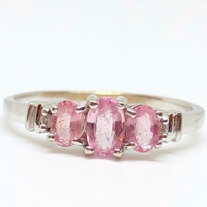 10k White Gold Oval Pink Sapphire & Diamond Ring